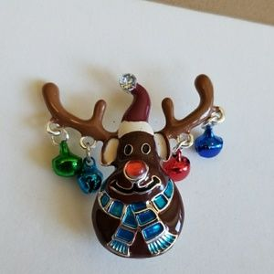 DANGLE Bell Enamel Rudolph Reindeer Christmas pin